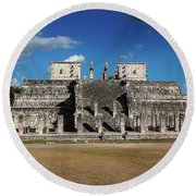 Cancun Mexico - Chichen Itza - Temple Of The Warriors Round Beach Towel