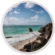 Cancun Mexico - Tulum Ruins - Caribbean Beach Round Beach Towel