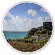 Cancun Mexico - Tulum Ruins - Temple For God Of The Wind 1 Round Beach Towel
