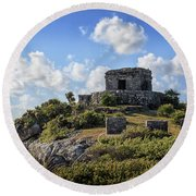 Cancun Mexico - Tulum Ruins - Temple For God Of The Wind 2 Round Beach Towel