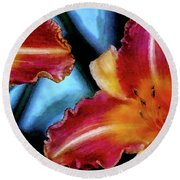 Candied Daylilies 1230 Dp_2 Round Beach Towel