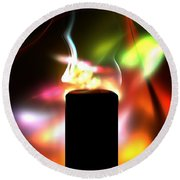 Candle And Colors Round Beach Towel