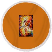 Candle Fire  Round Beach Towel