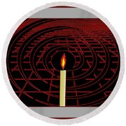 Candle Of Faith And Hope Round Beach Towel