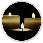 Candle Trio Round Beach Towel