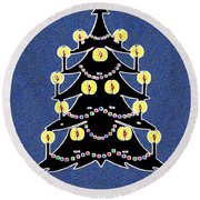 Candlelit Christmas Tree Round Beach Towel