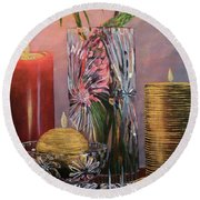 Candlelit Lupins Round Beach Towel