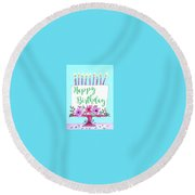 Candles And Cake Round Beach Towel