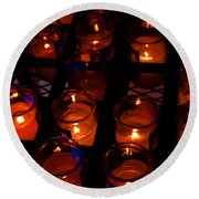 Candles For Mother Maria Round Beach Towel