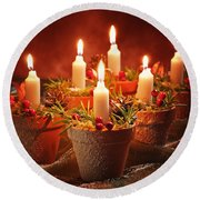 Candles In Terracotta Pots Round Beach Towel by Amanda Elwell