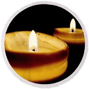 Candles In The Dark Round Beach Towel