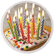 Candles On Birthday Cake Round Beach Towel