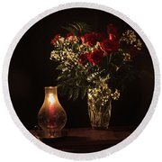 Candlestick And Roses Round Beach Towel