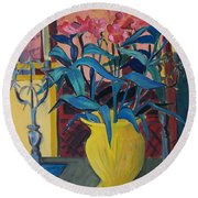 Candlesticks And Blossoms Round Beach Towel