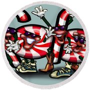 Candy Cane Gang Round Beach Towel