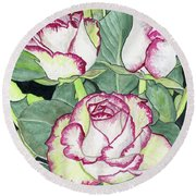 Candy Cane Roses Round Beach Towel