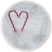 Candy Canes In Snow Round Beach Towel