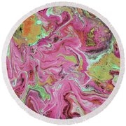 Candy Coated- Abstract Art By Linda Woods Round Beach Towel