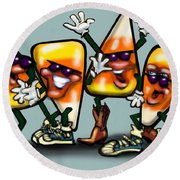 Candy Corn Gang Round Beach Towel