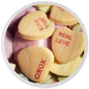 Candy Hearts Round Beach Towel
