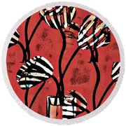 Candy Stripe Tulips 2 Round Beach Towel