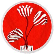 Candy Stripe Tulips Round Beach Towel