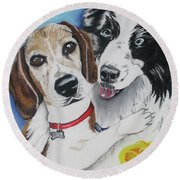 Canine Friends Round Beach Towel