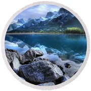 Canmore Reservoir Under A Setting Sun Round Beach Towel