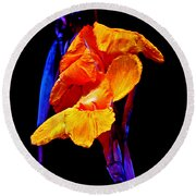 Canna Lilies On Black With Blue Round Beach Towel