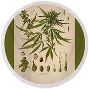 Cannabis Sativa  Round Beach Towel