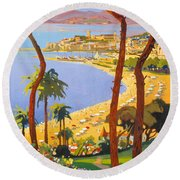 Cannes Vintage Travel Poster Round Beach Towel
