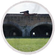 Cannon At Fort Pickens Round Beach Towel