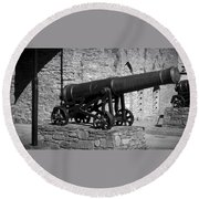 Cannon At Macroom Castle Ireland Round Beach Towel
