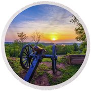 Cannon At Sunset Round Beach Towel