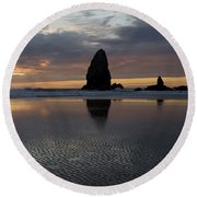 Cannon Beach At Sunset 7 Round Beach Towel