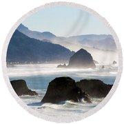 Cannon Beach On The Oregon Coast Round Beach Towel