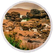 Cannon Beach, Oregon 3 Round Beach Towel by Shiela Kowing