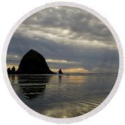Cannon Beach Reflections Round Beach Towel