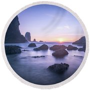 Cannon Beach Rocks Sunset Round Beach Towel