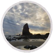 Cannon Beach Sunset 1 Round Beach Towel