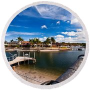 Cannon Over Water Round Beach Towel