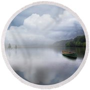 Canoe In The Clouds  Round Beach Towel