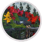 Canoe Lake Chairs Round Beach Towel by Phil Chadwick