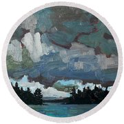 Canoe Lake Rain Round Beach Towel