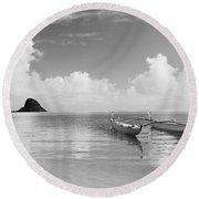 Canoe Landscape - Bw Round Beach Towel