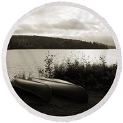 Canoe On A Shore Of A Lake At Dawn Round Beach Towel