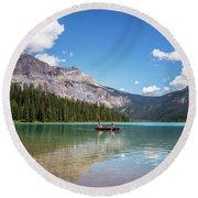 Canoe On Emerald Lake British Columbia Round Beach Towel