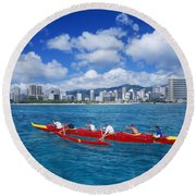 Canoe Race Round Beach Towel