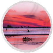Canoeing On Color Round Beach Towel