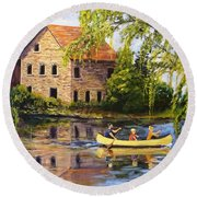 Canoeing Past The Mill Round Beach Towel